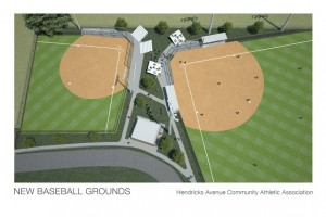 Artist's conception of new baseball fields