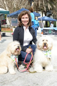 Jacksonville Humane Society Chair, Campaign for a Compassionate Community, Linda Stein, with (left) Lovey Zimmerman and Jax Stein, both miniature English Goldendoodles.