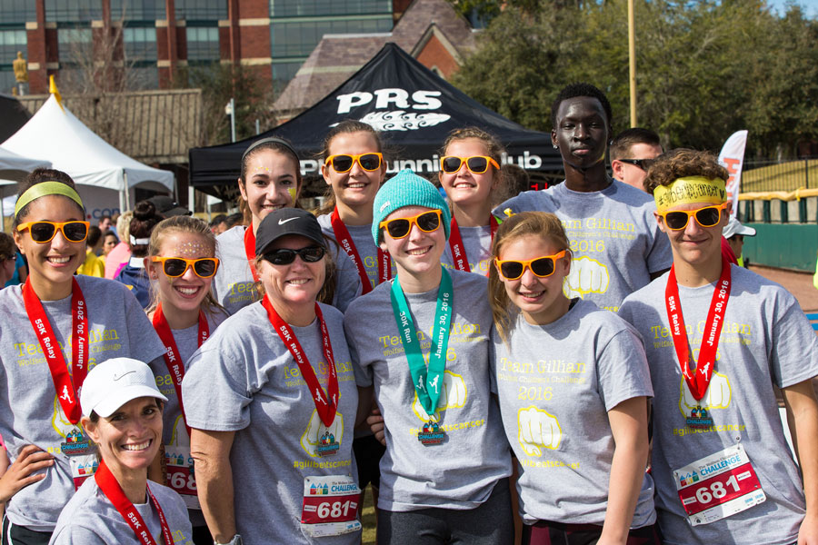 Gillian Vaughan (center, front) with some of the runners for Team Gillian. (Photo by Blake Menzel, Menzel Images)
