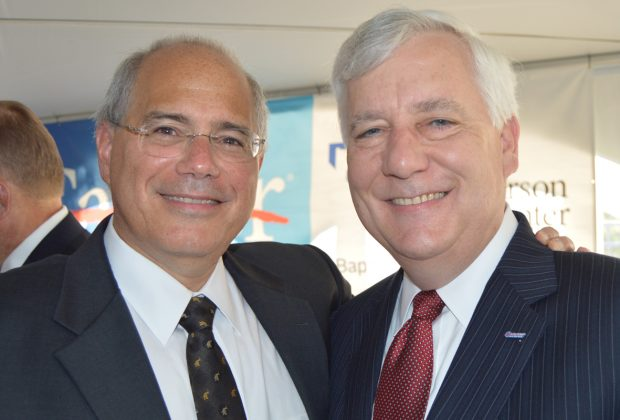 Dr. Miguel Rodriguez-Bigas, clinical lead for Baptist MD Anderson Cancer Center and professor, department of surgical oncology of MD Anderson Cancer Center, Houston with Dr. Joe B. Putnam, Jr., medical director of Baptist MD Anderson Cancer Center