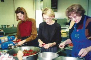 Canning strawberry preserves in the Duval County Extension Service canning kitchen were Suzanne Perritt, Pat Barnes and Janet Hogshead. Photo circa 2000.