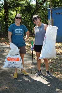 Sunny Gettinger and Rheiana Ertman picked up litter and other debris around the park.