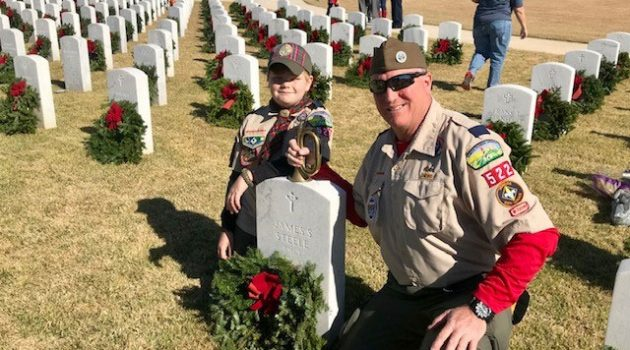 Boy Scout honors veterans, grandfather's memory with wreaths