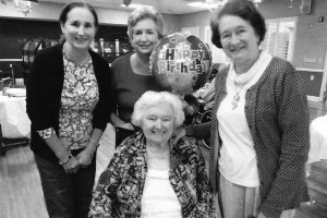 Frances, Dorothy, Elizabeth with their mother Betty, celebrating her 93rd birthday in 2013