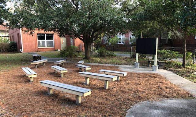 Outdoor classroom built by Boy Scout Troop 35