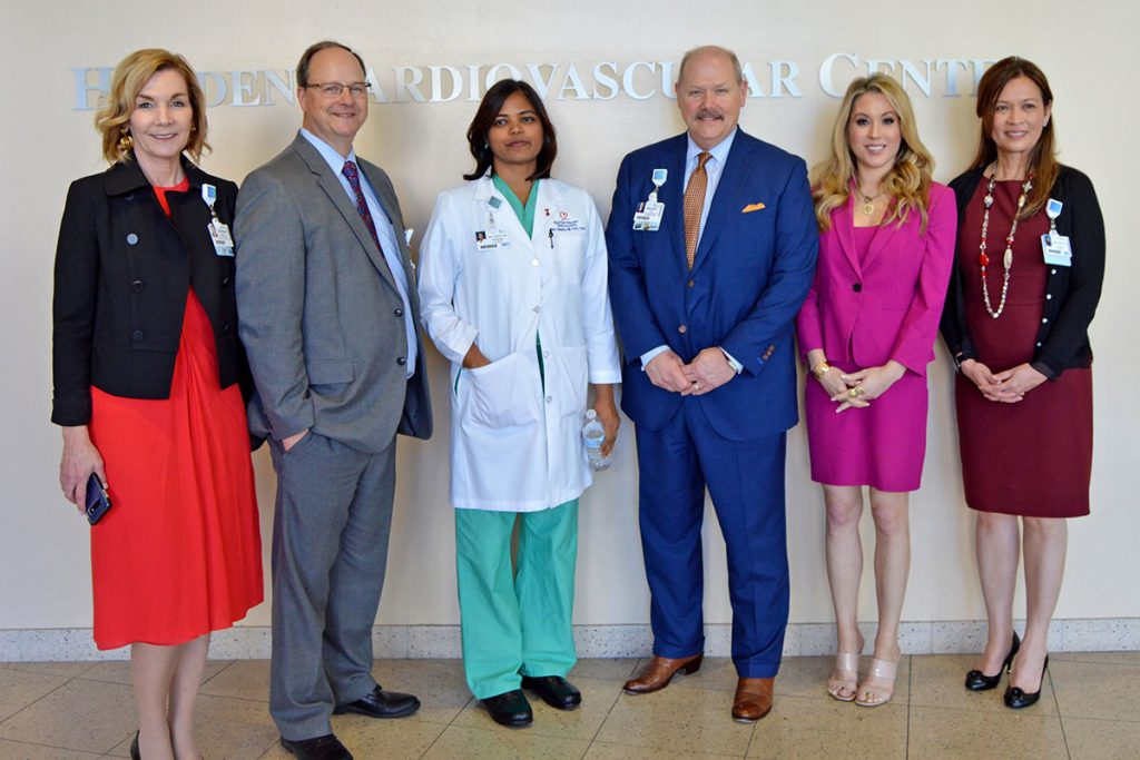 Catherine Graham, vice president of Business Innovation and Development, with Ron Roberts, director, Cardiovascular Service Line, with Dr. Ruby Satpathy, Baptist Medical Center Jacksonville President Michael Mayo, Jennifer Hale, Fox Sports reporter, and Dr. Pamela Rama