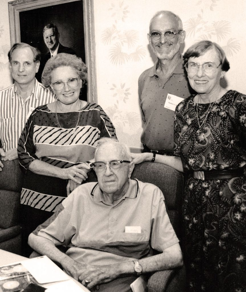 Dr. Paul Witten, long-time Jacksonville dentist who first graduated in pharmacy; Jeannie Feiles, Tampa; Dean Harry Foote who taught them while they were all attending University of Florida; a man who Anita doesn't remember, and Anita at their 50th year reunion.