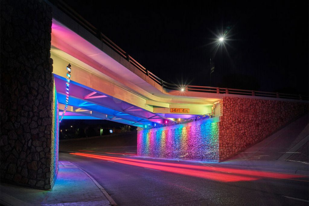 This underpass in El Paso was transformed with light displays.