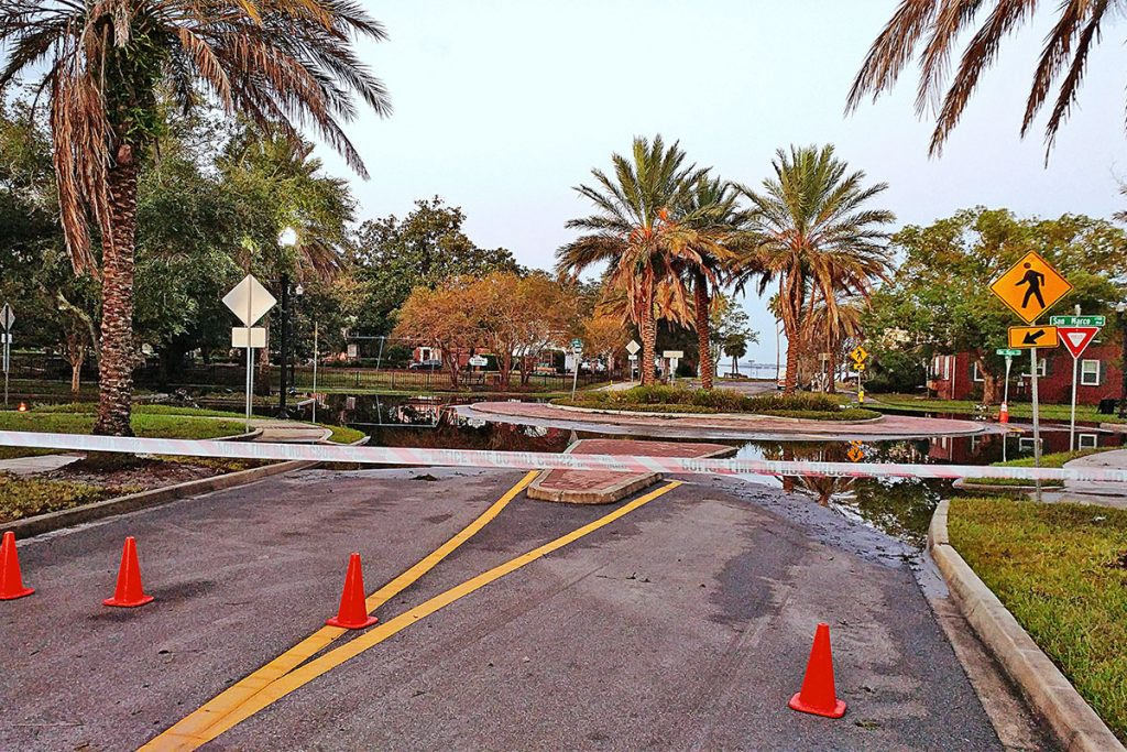 Flooded Landon roundabout on San Marco Boulevard after the waters from Hurricane Irma have receded.