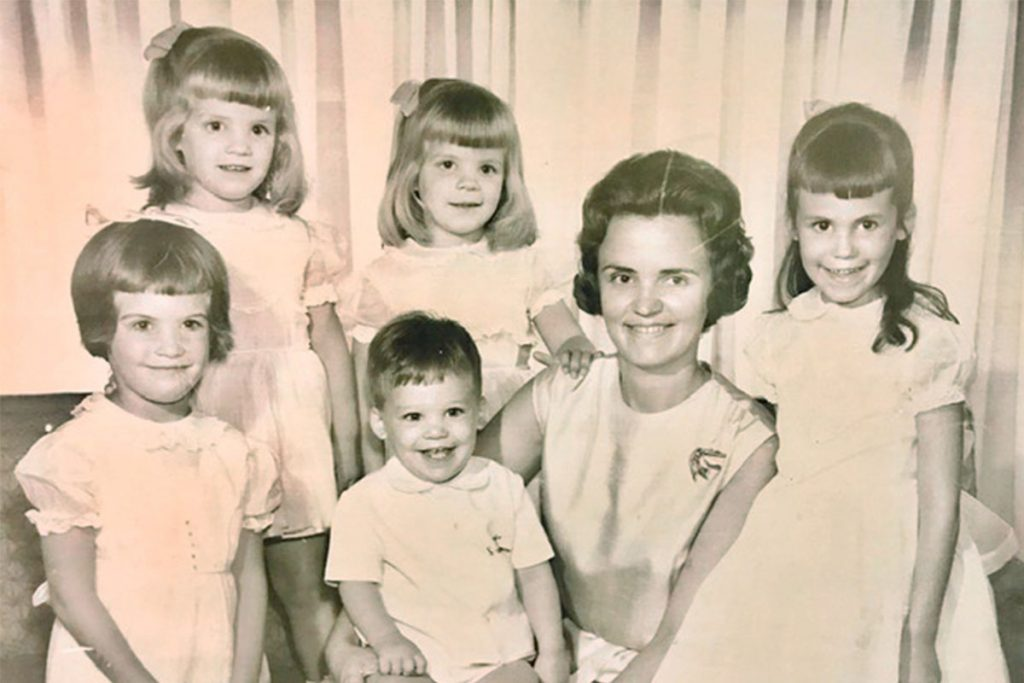 Hazel with her 5 children, 1963 (FRONT ROW) (left to right) Patten M. Moore, WTS Montgomery III (Cliff), Hazel Montgomery, Ginny M. Vorsanger